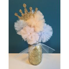 Items similar to Cinderella Inspired Gold Glitter Tulle Pom Pom Princess Centerpiece! - Customize your Colors! on Etsy Cinderella Baby Shower, Cinderella Sweet 16, Cinderella Birthday, Baby Shower Princess, Princess Birthday, Girl Birthday, Disney Birthday, Birthday Bash, Birthday Ideas