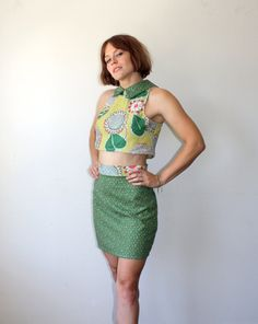 Crop Top and Skirt / Barkcloth Playsuit / Floral by rustycuts, $52.00