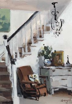 SIGNED FINE ART PRINT Stairwell with Lounge Chair This is a fine quality reproduction of an original painting by David Lloyd. Interior Sketch, Interior Paint, Interior And Exterior, Interior Design, Room Paint, Painting Inspiration, Fine Art Prints, Original Paintings, Illustration Art