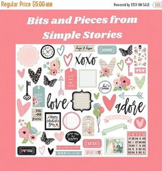 Just Released, Romance by Simple Stories, Bits and Pieces, Ephemeral Pack These bits and pieces are part of the Romance collection by Simple Stories. They are fun shaped designs used to decorate your planner, scrapbook and other crafting projects. Make sure you check out the other