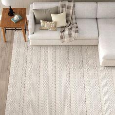 Birch Lane™ Heritage Jocelyn Parchment Handwoven Flatweave Wool White/Charcoal Area Rug Rug Size: Square x White Area Rug, Beige Area Rugs, White Rugs, Cream Area Rug, Living Tv, Living Room, White Charcoal, Dark Grey, White Sofas