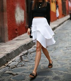 black and white with tiger flats