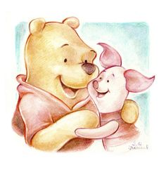 Here is a painting/drawing of the character 'Winnie the Pooh', using primarily watercolour and inks. Winnie the Pooh Winnie The Pooh Friends, Disney Winnie The Pooh, Disney Fan Art, Disney Love, Disney Magic, Walt Disney, Pooh Bear, Tigger, Eeyore