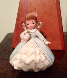 Vintage Figurine  Girl in Blue Gown with White by VintageLove50