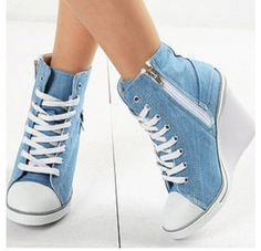 Womens Light Blue Denim Sneakers Zip Wedge Heel US / Ladies Ankle Boots Prom Shoes, Women's Shoes, Me Too Shoes, Shoe Boots, Dress Shoes, Fall Shoes, Winter Shoes, Cute Shoes Heels, Dress Clothes