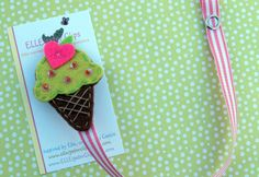 NEW ITEM  Kiddie Cone Lime Ice Cream Cone Felt by ELLEigatorClips, $8.95