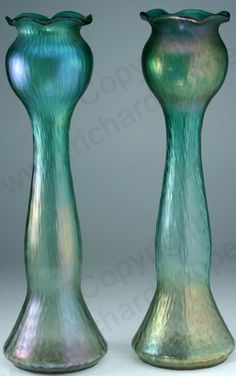 ANTIQUE GLASS MAKERS. c.1910 NEAR PAIR OF TALL RINDSKOPF IRIDESCENT VASES. To visit my website click here: http://www.richardhoppe.co.uk or for help or information email us here: info@richardhoppe.co.uk