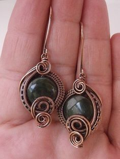 Wire Wrapped Earrings Green Jade and Copper by PerfectlyTwisted