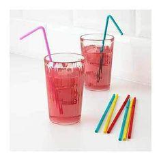 200 Drinking Straw Party Stuff Set Water Drink Kitchen Bottle Glass Colored Flex