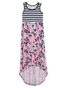 Floral Stripe High Low Maxi Dress