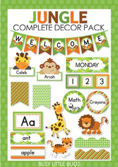 Jungle Complete Decor Pack Complete collection of jungle themed decor pack for your classroom. The post Jungle Complete Decor Pack appeared first on Toddlers Ideas. Preschool Classroom Themes, Preschool Jungle, Jungle Theme Classroom, Jungle Theme Birthday, Classroom Birthday, Toddler Classroom, Classroom Decor Themes, New Classroom, School Decorations