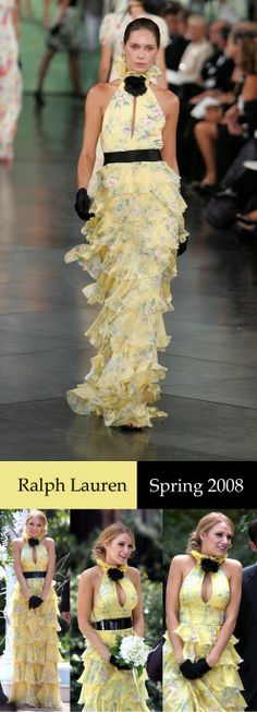 Ralph Lauren 2008 SS | Blake Lively | Serena van der Woodsen | Gossip Girl | Yellow Halter Dress |