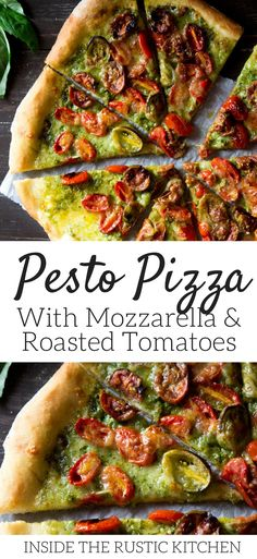 The best pesto pizza recipe made with homemade pesto and an easy basic pizza dough recipe. Topped with roasted cherry tomatoes and mozzarella it's the perfect way to make pizza night more exciting! More authentic Italian pizza recipes at Inside the rustic kitchen via @InsideTRK