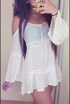 Beige Cold Shoulder Long Sleeve Crochet Insets Tunic Dress - boho dress yes fashion style Summer Outfits, Cute Outfits, Summer Dresses, Vegas Outfits, Bar Outfits, Look Fashion, Teen Fashion, Dress Fashion, Bohemian Mode