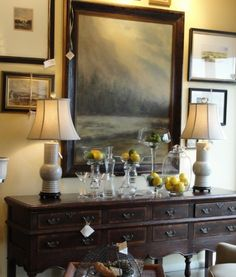 Dining Room Buffet Decorating Ideas With Two Simple Glass Framed Art And  Small Statue | Decolover.net | Dining Room Decor | Pinterest | Dining Room  Buffet, ...
