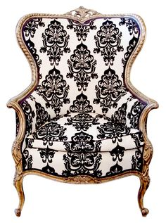 19th C French Louis XVI Style Gilded Wing Back Chair with Black and White Upholstery | VandM.com