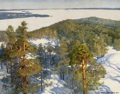 "pintoras: ""Helmi Biese (Finnish, 1867 - View from Pyynikki Ridge (via Finnish National Gallery) "" Winter Landscape, Landscape Art, Landscape Paintings, Landscapes, Painting Snow, Scandinavian Art, Canvas Art Prints, Online Art, Les Oeuvres"