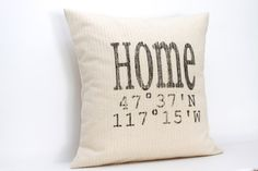 "personalized pillow, longitude and latitude pillow, map pillow, housewarming gift, wedding gift ""The Home 2"""