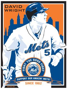 David Wright of the New york Mets - Baseball Screen Print.