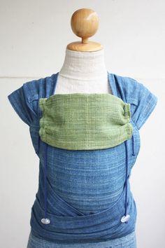 BaBy SaBye Wrap Mei Tai sling hand-woven two-side WITH A HOOD model36 Indigo/Green