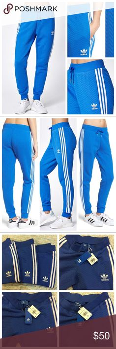 Adidas Original Track Pants Adidas quilted style with ribbed cuffed track pants. Iconic three stripes on both sides, tre-foil logo on left side, chevron quilted pattern allover, secure zippered side pockets on both sides and drawstring waist. Soft fabric texture, retro high waist style, on trend must have. Brand new with tags. Questions welcomed. Price is for one pair, currently have sizes: XS and L. adidas Pants Track Pants & Joggers