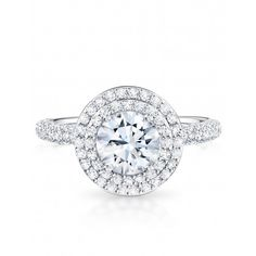 Gorgeous round brilliant with double halo engagement ring. Birks.