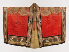 Daoist priest's robe Period: Qing dynasty Date: century Culture: China Medium: Silk and metallic thread embroidery on satin Chinese Design, Chinese Style, Chinese Art, Priest Robes, Chinese Embroidery, Taoism, Hanfu, Cheongsam, Chinese Clothing