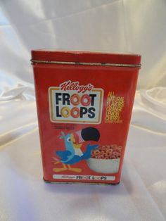 Advertisement tin box for Froot Loops cereal by VintageAdorables, $12.00