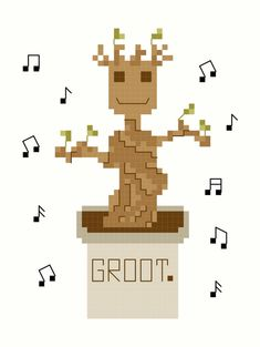 Dancing Baby Groot Guardians of the Galaxy Cross Stitch Pattern (Groot Cross Stitch) Marvel Cross Stitch, Geek Cross Stitch, Cross Stitch Patterns, Cross Stitching, Cross Stitch Embroidery, Galaxy Cross, Groot Guardians, Stitch Cartoon, Baby Groot