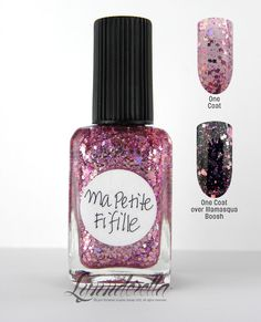 Ma Petite Fifille (my little girl) is pink glitter overload with holographic and pastel pink glitters in assorted shapes and sizes in a clear base.