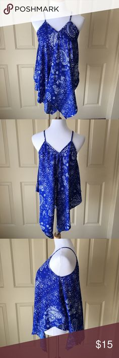 Blue Handkerchief V-Neck Tank Top Blue printed, flowing tank top. V-neck and spaghetti straps. Brand new! Rebellion Again Tops Tank Tops