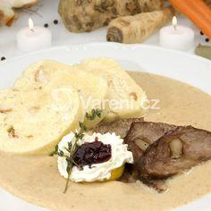 Svíčková od babičky recept - Vareni.cz Food Photo, Camembert Cheese, Mashed Potatoes, Ethnic Recipes, Whipped Potatoes, Smash Potatoes, Food Photography