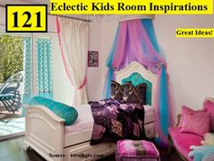 Soft cream walls and an upholstered headboard complete this fun kid's bedroom. Free-flowing pink-and-blue tulle add pops of color and accent the princess bed, creating a focal point in the space. Cool Kids Bedrooms, Girls Bedroom, Kids Rooms, Teen Bedrooms, Toddler Rooms, Bedroom Ideas, Interior Design Gallery, Colourful Living Room, Pink Bedding