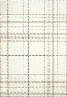 Rakel Plaid Wallpaper Off white and Brown plaid wallpaper with dark blue window check.