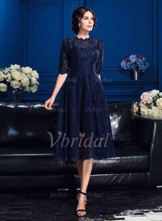A-Line/Princess High Neck Tea-Length Lace Zipper Up Sleeves 1/2 Sleeves No Dark Navy Spring Summer Fall Mother of the Bride Dress