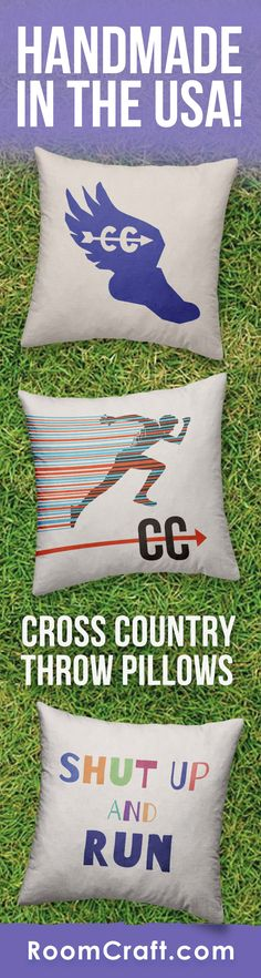Life is short... run faster! These cross country throw pillows are a great addition to any runners home. Each design is offered in multiple fabrics, colors, and sizes making them the perfect addition to any bedroom, sports room, or man cave. Our quality running pillow covers are made to order in the USA and feature 3 wooden buttons on the back for closure. Choose your favorite and create a truly unique pillow set. #roomcraft