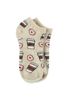 Very comfy. Coffee and Donuts Ankle Socks Forever 21 - 2000114038 Funky Socks, Crazy Socks, Cute Socks, My Socks, Happy Socks, High Socks, Foot Warmers, Zooey Deschanel, Fashion Socks
