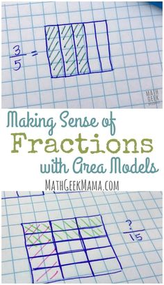 "Help your kids make sense of fractions using area models! This provides such a helpful visual so kids can really ""see"" the concepts. Learn more in this helpful post! #mathteachingtips #helpfultipsforteachers #teachingfractions #areamodels @mathgeekmama"
