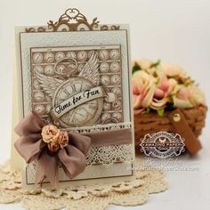 Card Making Ideas by Becca Feeken using JustRite Papercrafts Time Flies and Spellbinders