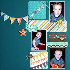 Monthly Scrapbooking Layout Kit Club at The ScrapRoom - www.scrap-room.com Baby Boy Scrapbook, 12x12 Scrapbook, Scrapbook Sketches, Scrapbooking Layouts, Craft Rooms, Toddler Preschool, 4 Life, 12 Months, Banners
