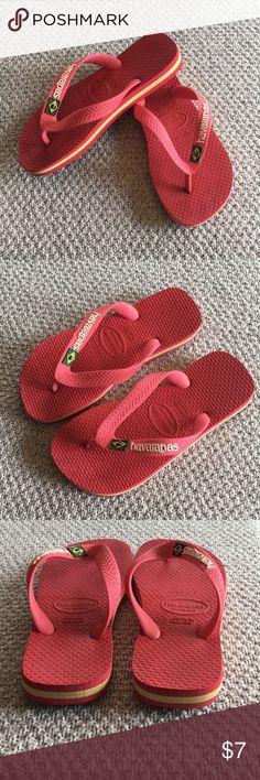 best service 2d95a 880a1 Kids Havaiana flip flops Size 13-1, deep coral kids flip flops with yellow