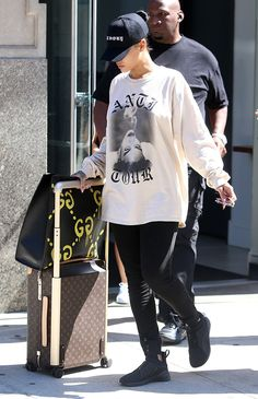 Rihanna-Gucci-Ghost-XL-Tote-Louis-Vuitton-Rolling-Luggage