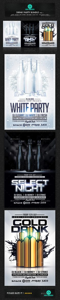 Drink Cocktail Party Night Flyer Template Bundle - Flyers Print Templates