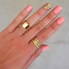 Pink nails and RINGS AND MIDI RINGS