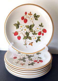 Set of 6 Sheffield Strawberries 'n Cream Stoneware Dinner Plates Dishes #Sheffield