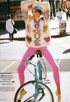pink pants + bicycle+ vogue sweater+ pose! Just got me a pair of pink jeans!