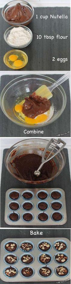 nutella brownies อร่อยง่ายไม่ต้องเยอะเครื่อง แค่ผสม 3 สิ่งก็ทำได้แล้ว