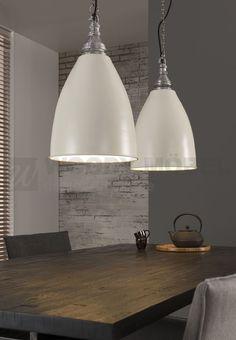 Spectacular H ngelampe Mit Zwei Lampenschirmen Im Industriedesign Woody Weiss Metall Stylisch Jetzt bestellen unter