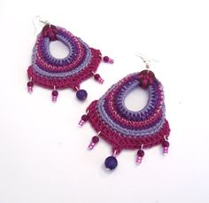 RESERVED Cotton yarn crochet earrings big di GiadaCortellini