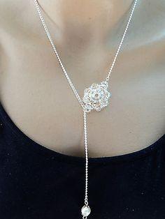 Collier long argenté rond de perles cristal swarovski et facettes de verre €12